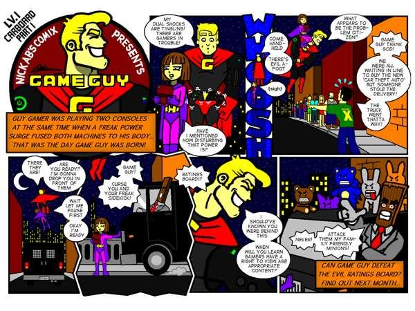 Sneak peak of the first season of the Game Guy comic by Nicholas Abdilla