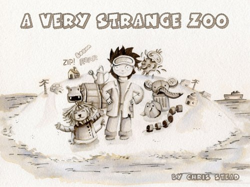 This is the cover for A Very Strange Zoo, a children's picture book by Chris Stead.