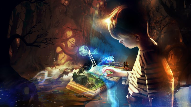 This image is called the Book of Imagination, and is by Deviantart user T1na